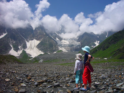 Standing in the now dry Beas Kund (lake), the girls can't quite get over how far they have walked.