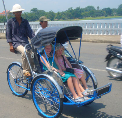 With no Tuk Tuks in Vietnam the girls favourite mode of transport has become the cyclo.