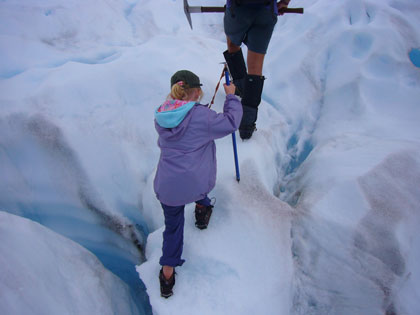 Ella following 'Goose' up the glacier.  The ice is 100m thick at this relatively flat area of the Franz Josef.  We are about midway up the 11km long glacier.
