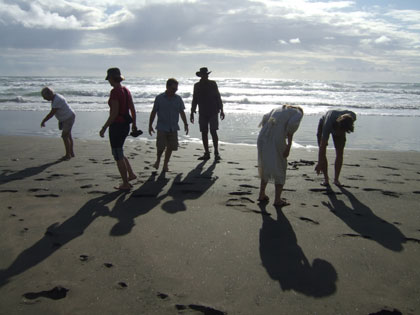 Karekare beach.  Stunning black sand and lush cliffs.<br />
