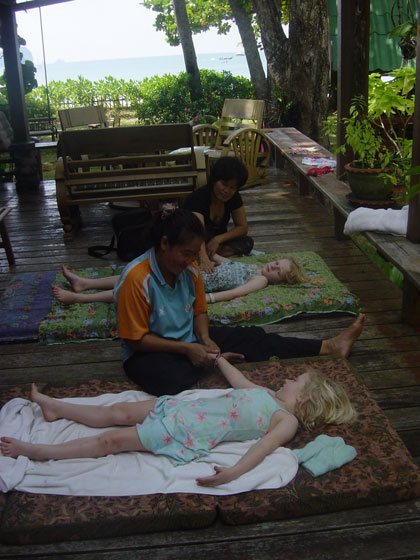 2 Thai sisters came to the house on several occasions to massage us on our deck.  Ella & Florence looked forward to the experience more than we did!