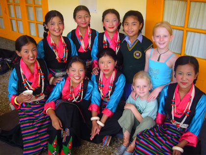 Our girls with young Tibetan refugees at the Dalai Lama's birthday celebrations in McLeod Ganj